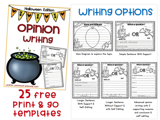 Halloween Opinion Writing templates free