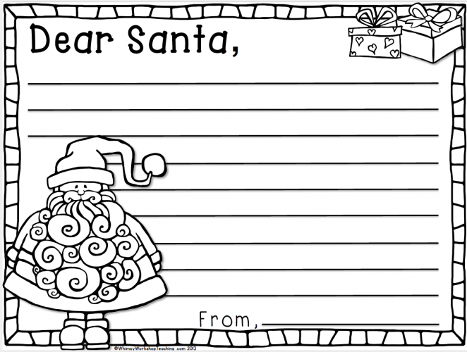 Black and white dear santa letter template pictures to pin for Dear santa template kindergarten letter