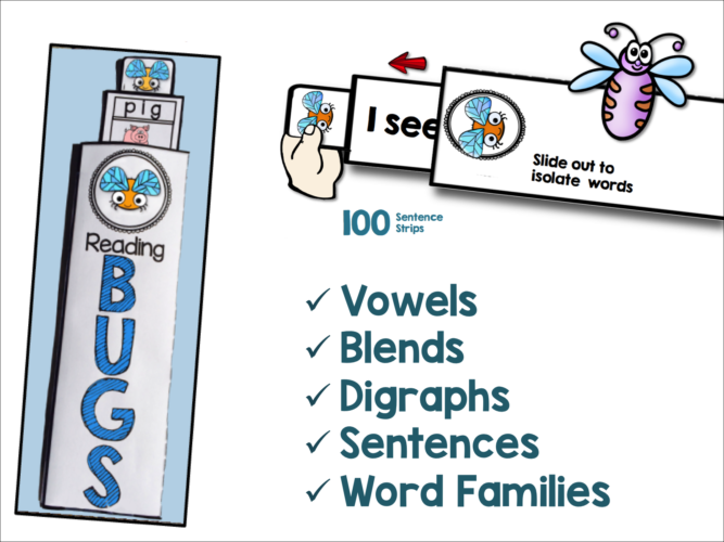 Working with letters to build short vowel and CVC words with the Reading Bugs program