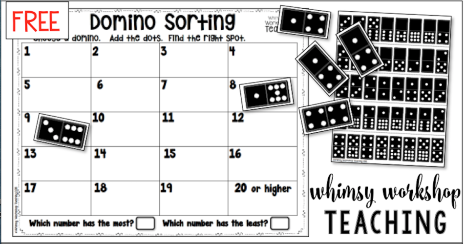 Free domino sorting mats math center with a printable dominos set included