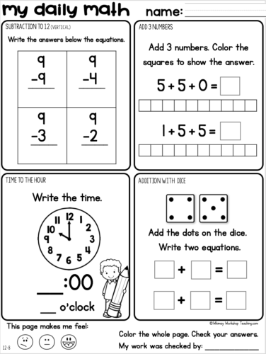 daily math practice and review for grade one