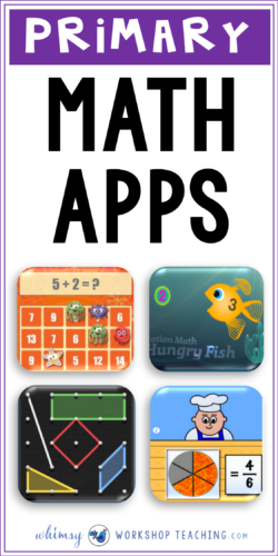 A list of great math apps for the primary classroom to practice a number of core math concepts