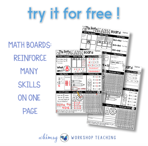 math boards freebie pages opt in