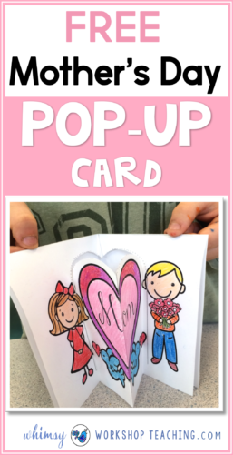 A fun and easy idea for mother's day - a pop up card! A simple cut and fold makes it pop open like magic, with spots of write about mom on the back, too!