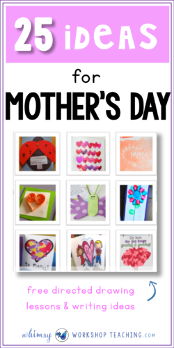 Here's a big list of 25 classroom tested mother's day crafts, printables and directed drawing templates. Lots of pictures and direct links to the original source for detailed directions (free downloads)