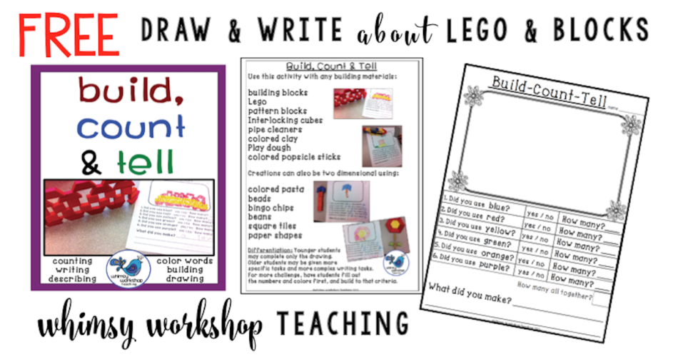 Use any building materials (lego or blocks) to create something to draw, count and write about! This is a class favorite and a free download you can use any time of year for assessment