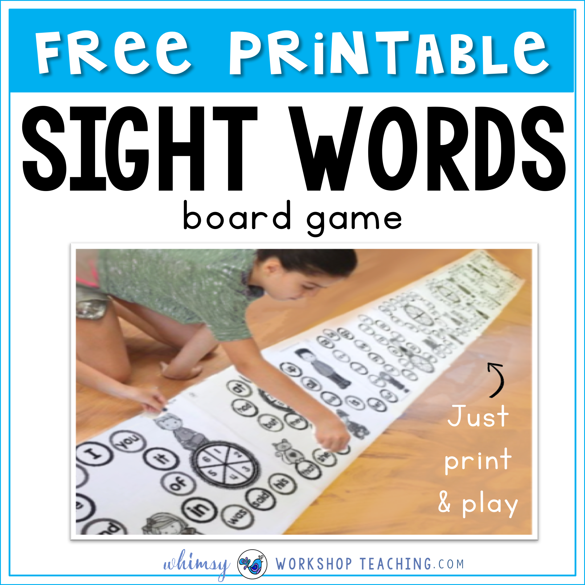 Giant Sight Word Board game to print and play FREE