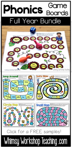 Phonics game boards to practice literacy in engaging ways all year long. Covers 70 spelling patterns and sight words