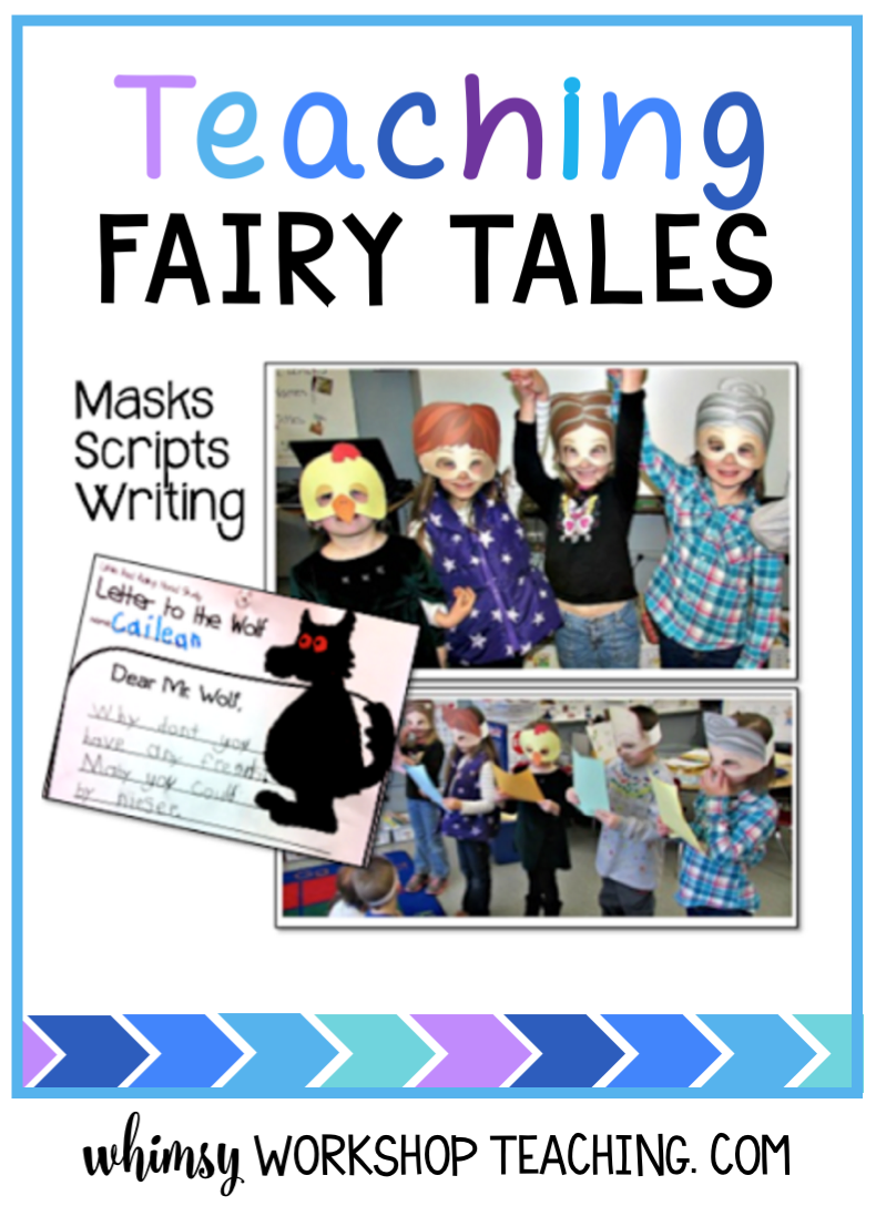 Ideas for how to use fairy tales to perform partner plays, create masks, and write letters to characters