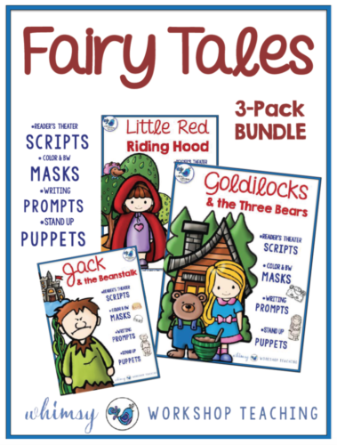 Fairy Tales reader's theater using masks and puppets with literacy writing prompts