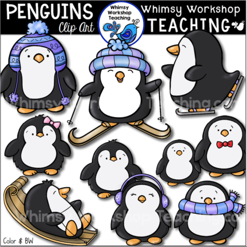 Penguins Clip Art set Whimsy Workshop Teaching