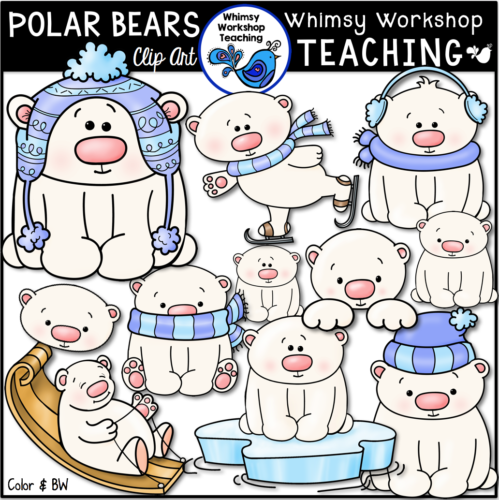 Polar Bear clip art for classroom projects and winter decor