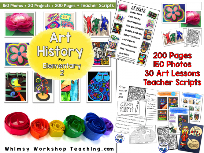 Art History 2 has 30 easy art lessons for busy teachers with a read aloud script and photo instructions