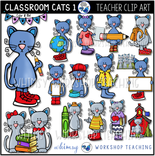 Cats In The Classroom 1 Clip Art Whimsy Workshop Teaching