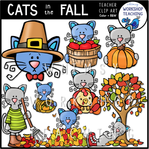 Cats in the Fall Clip Art