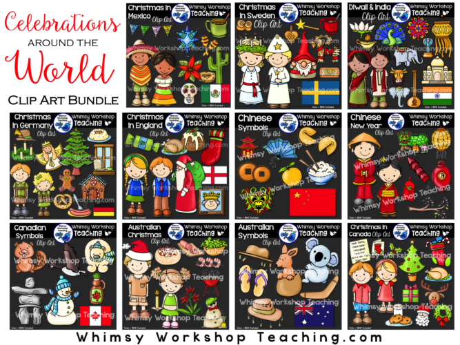 Big Bundle of 11 Clip Art sets featuring celebrations around the world. Color and BW included. 200+ images