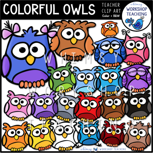 Colorful Owls Clip Art WWT