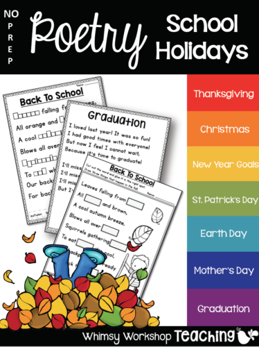 Explore school holidays through the year with no prep poetry printables
