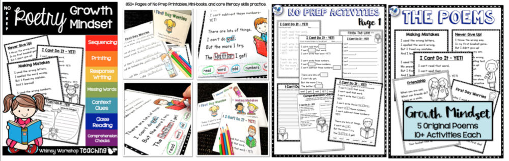Growth Mindset No Prep Poetry with 5 poems and 12 activities for each poem