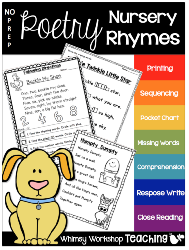 Nursery Rhymes no prep poetry with 6 poems and 12 activities each