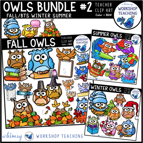 Owls Bundle 2 Clip Art WWT