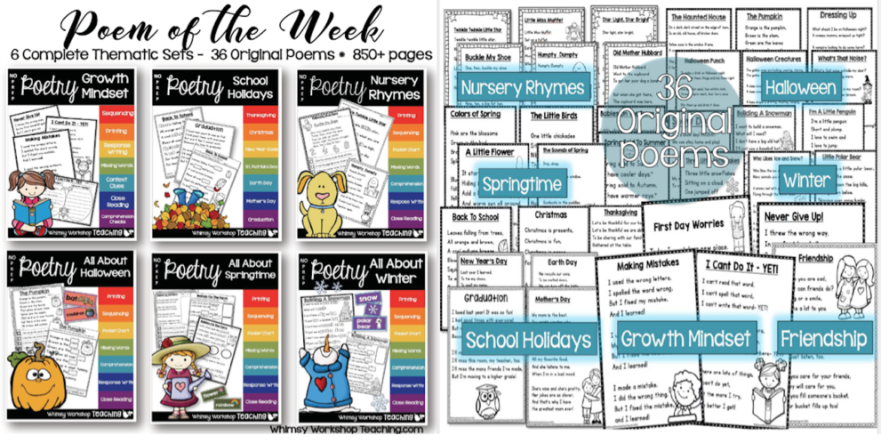Poem of the Week BUNDLE with over 850 pages of no prep printables