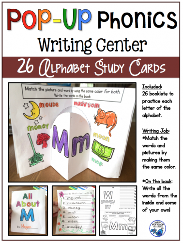Pop Up Phonics Writing Center Booklets ALPHABET