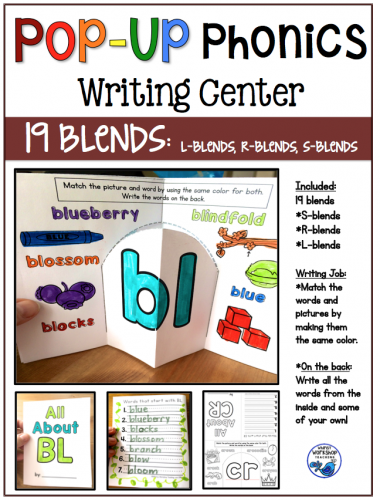 Pop Up Phonics Writing Center Booklets BLENDS