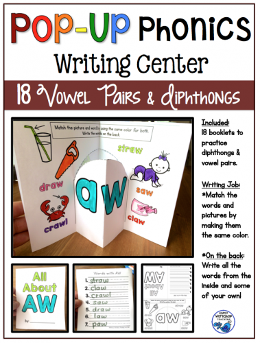 Pop Up Phonics Writing Center Booklets Vowel Pairs