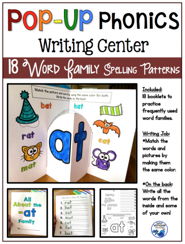 Pop Up Phonics Writing Center Booklets Word Families