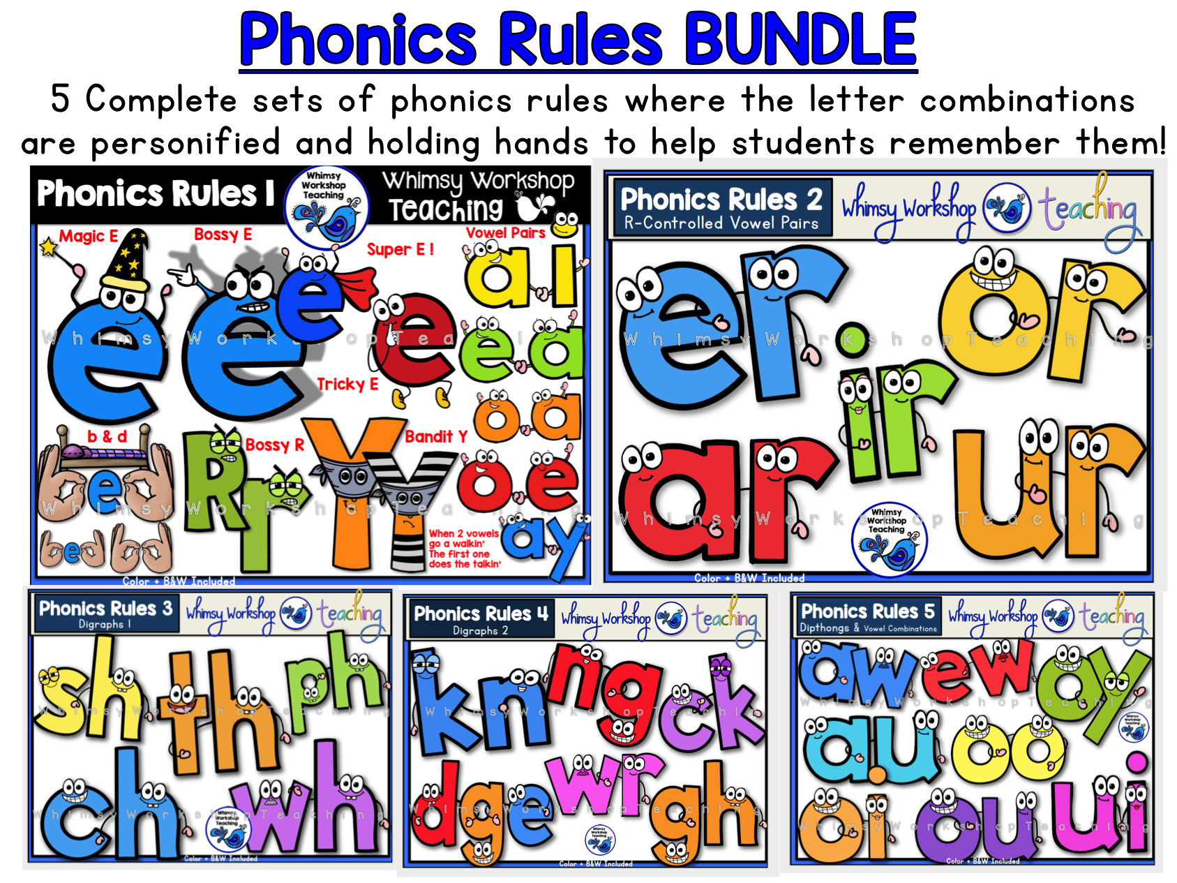 Phonics Rules BUNDLE - Whimsy Workshop Teaching