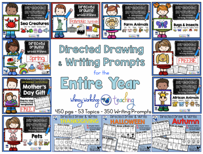 Directed Drawing and Writing prompts to fill your independent literacy center all year.