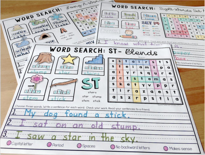 Practice phonics and spelling patterns through the entire year with these word searches that offer a lot more skills to practice!