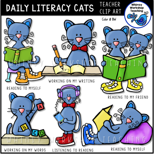 Daily Literacy Cats Clip Art