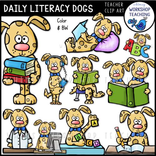 Literacy Dogs Clip Art