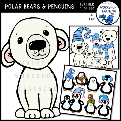 Polar Bears and Penguins Whimsical Clip Art