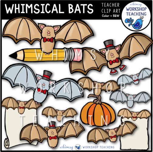 Whimsical Bats Clip Art