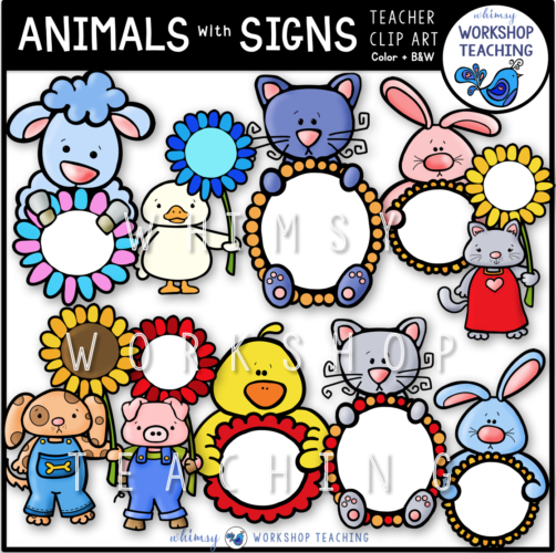 Spring Animals With Signs Clip Art