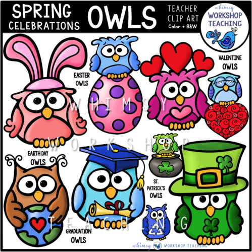 Spring Celebrations Owls Clip Art WWT