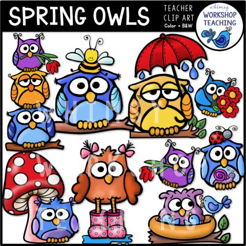 Spring Owls Clip Art WWT