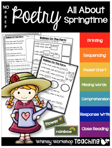 Springtime no prep poetry with 6 poems and 12 activities each