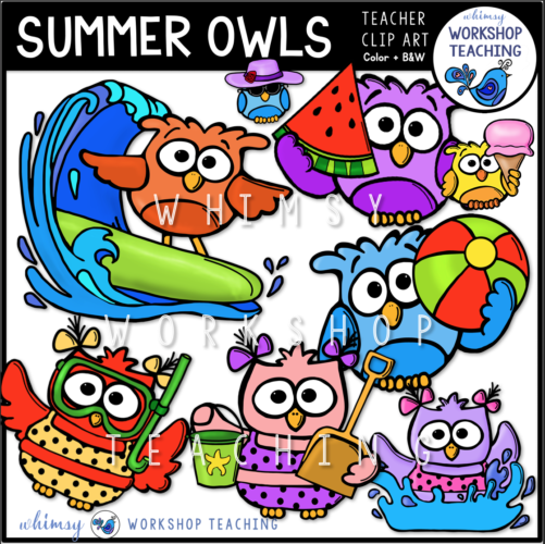 Summer Owls Clip Art WWT