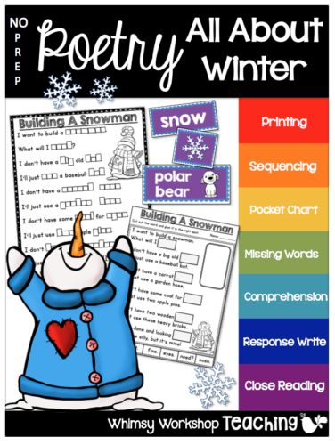 Winter no prep poetry with 6 poems and 12 activities each