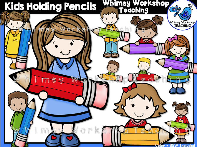 Little Kids Holding Pencils