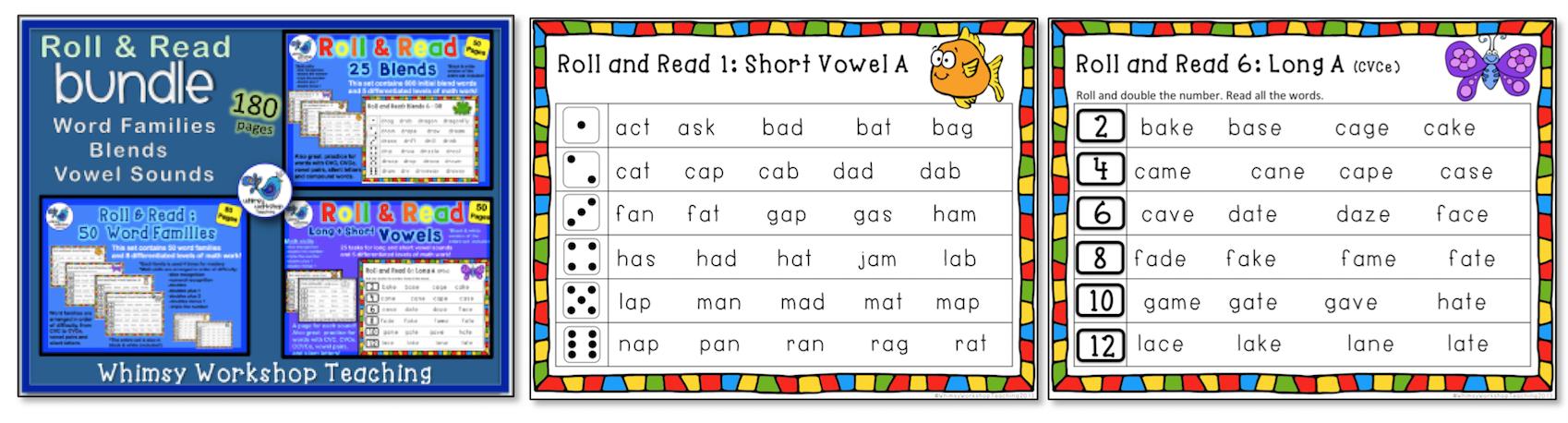 Roll & Read Bundle - Word Families - Blends - Vowels