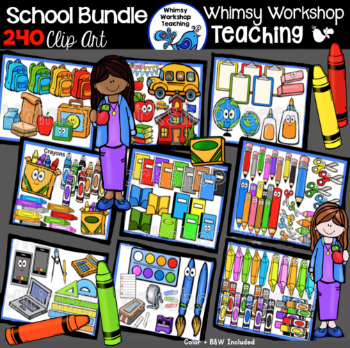 Ultimate Back To School Clip Art Bundle 240 clips