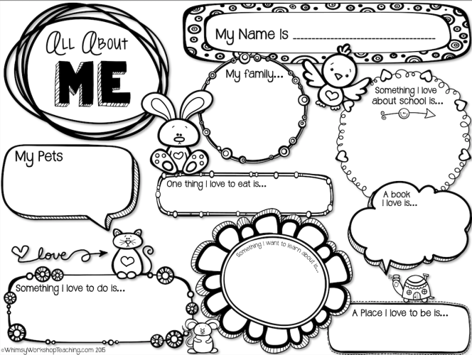 About Me Writing Template Whimsy Workshop Teaching