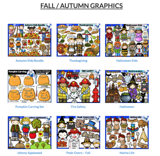 Click to see a whole page of seasonal teacher friendly clip art!