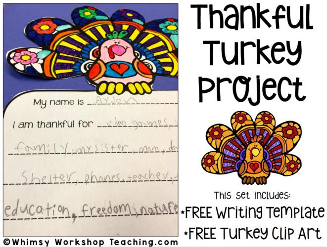 FREE thankful turkey writing project