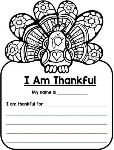 thankful turkey writing template